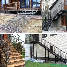 Уличные Наружные металлические лестницы на заказ (для крыльца, на второй этаж, входные). Металлический каркас в Днепре (Днепропетровск)